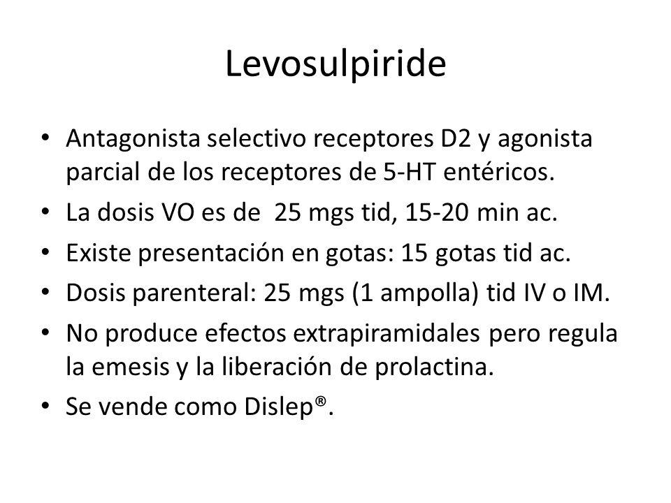 Levosulpiride Antagonista selectivo receptores D2 y agonista parcial de los receptores de 5-HT entéricos. La dosis VO es de 25 mgs tid, 15-20 min ac.