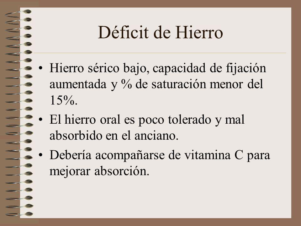 Déficit de Hierro Hierro sérico bajo, capacidad de fijación aumentada y % de saturación menor del 15%. El hierro oral es poco tolerado y mal absorbido