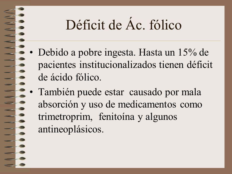 Déficit de Ác. fólico Debido a pobre ingesta. Hasta un 15% de pacientes institucionalizados tienen déficit de ácido fólico. También puede estar causad