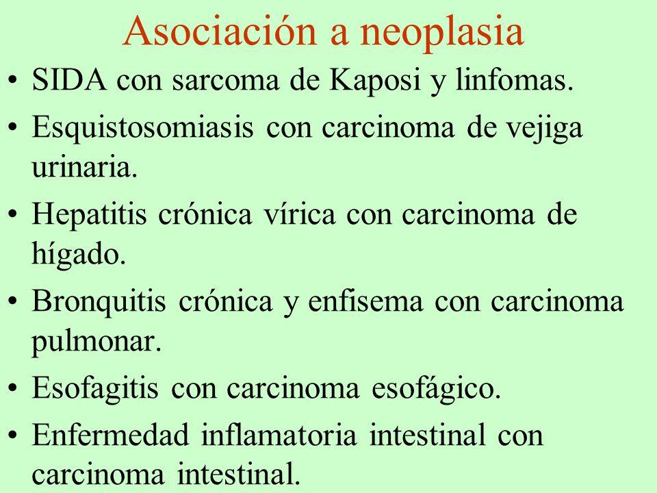 Asociación a neoplasia SIDA con sarcoma de Kaposi y linfomas. Esquistosomiasis con carcinoma de vejiga urinaria. Hepatitis crónica vírica con carcinom