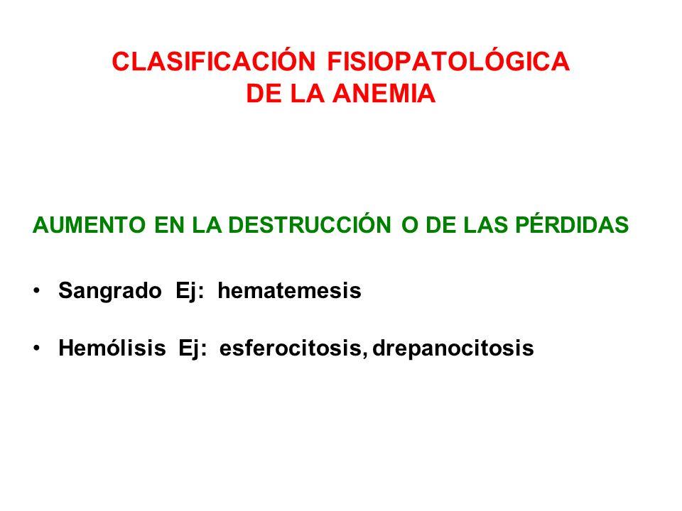 CLASIFICACIÓN FISIOPATOLÓGICA DE LA ANEMIA AUMENTO EN LA DESTRUCCIÓN O DE LAS PÉRDIDAS Sangrado Ej: hematemesis Hemólisis Ej: esferocitosis, drepanoci
