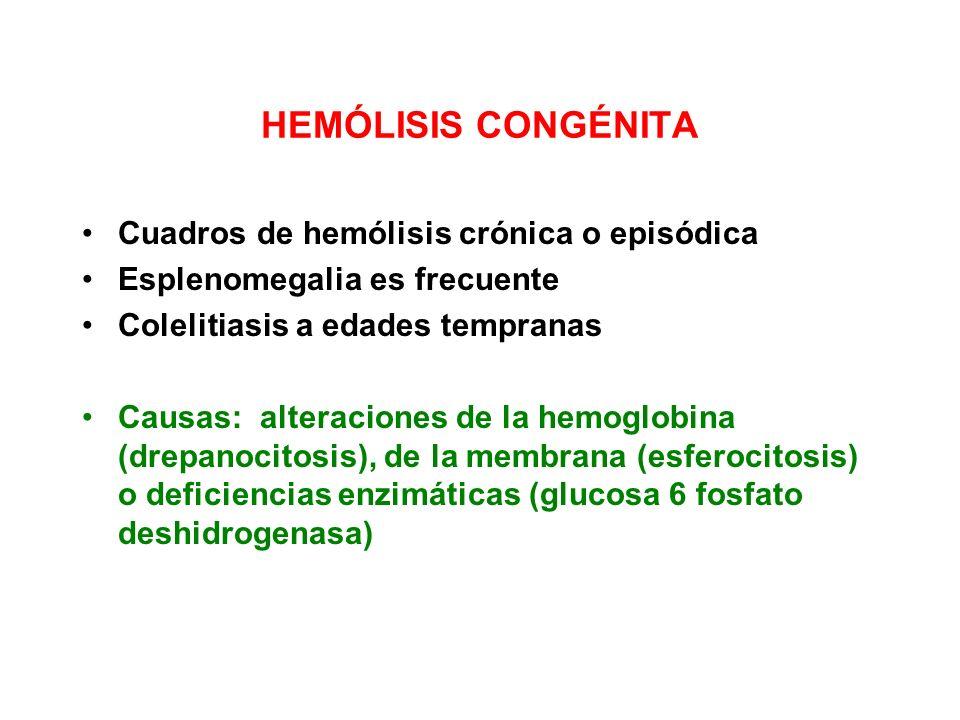 HEMÓLISIS CONGÉNITA Cuadros de hemólisis crónica o episódica Esplenomegalia es frecuente Colelitiasis a edades tempranas Causas: alteraciones de la he
