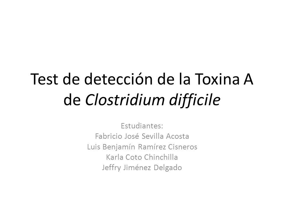 Test de detección de la Toxina A de Clostridium difficile Estudiantes: Fabricio José Sevilla Acosta Luis Benjamín Ramírez Cisneros Karla Coto Chinchil