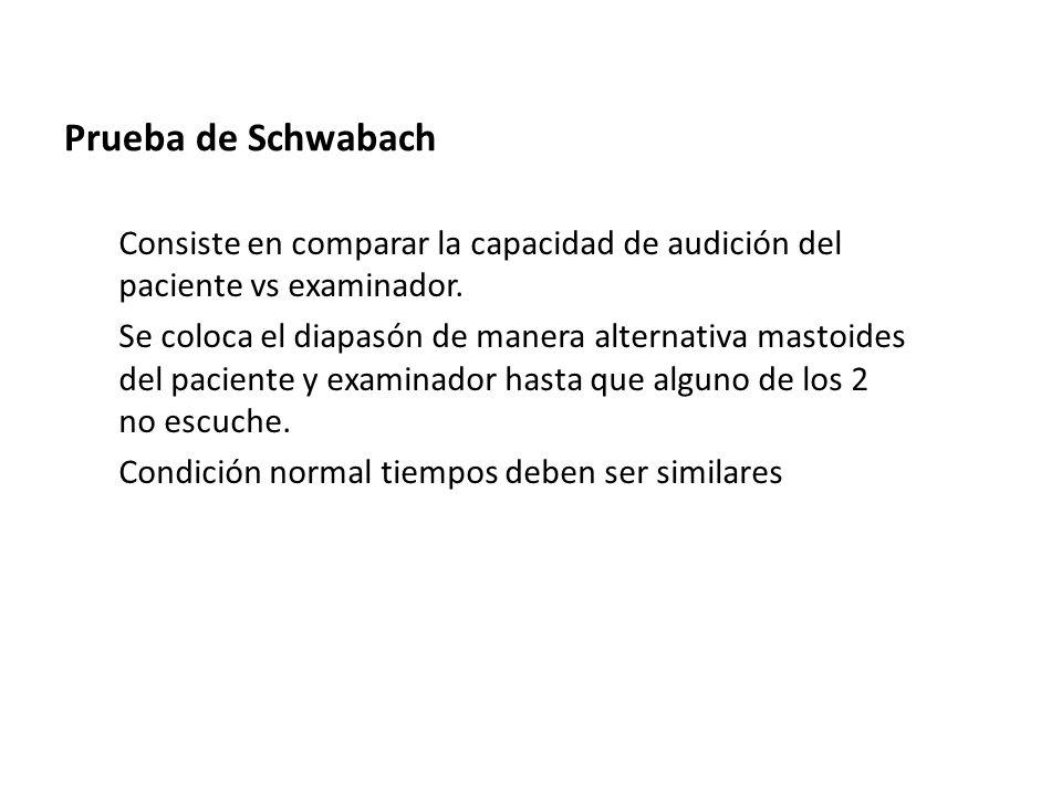 Prueba de Schwabach Consiste en comparar la capacidad de audición del paciente vs examinador. Se coloca el diapasón de manera alternativa mastoides de