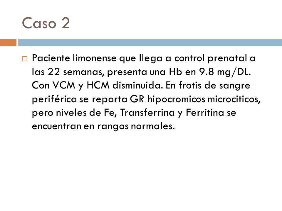 Caso 2 Paciente limonense que llega a control prenatal a las 22 semanas, presenta una Hb en 9.8 mg/DL. Con VCM y HCM disminuida. En frotis de sangre p