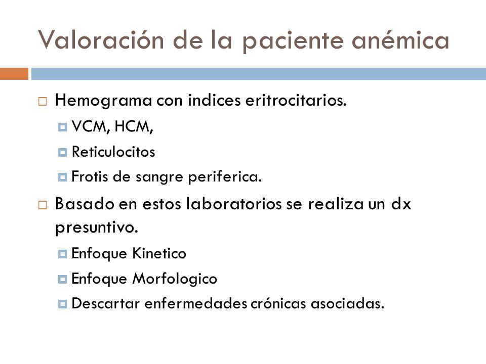 Valoración de la paciente anémica Hemograma con indices eritrocitarios. VCM, HCM, Reticulocitos Frotis de sangre periferica. Basado en estos laborator