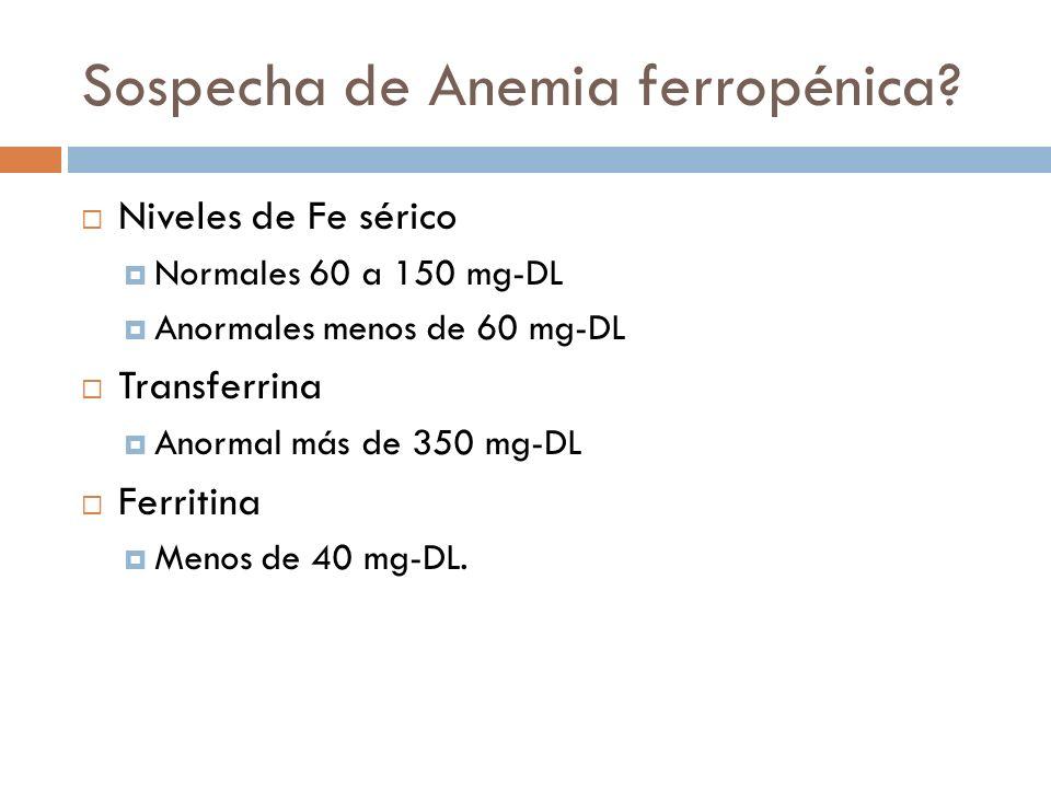 Sospecha de Anemia ferropénica? Niveles de Fe sérico Normales 60 a 150 mg-DL Anormales menos de 60 mg-DL Transferrina Anormal más de 350 mg-DL Ferriti