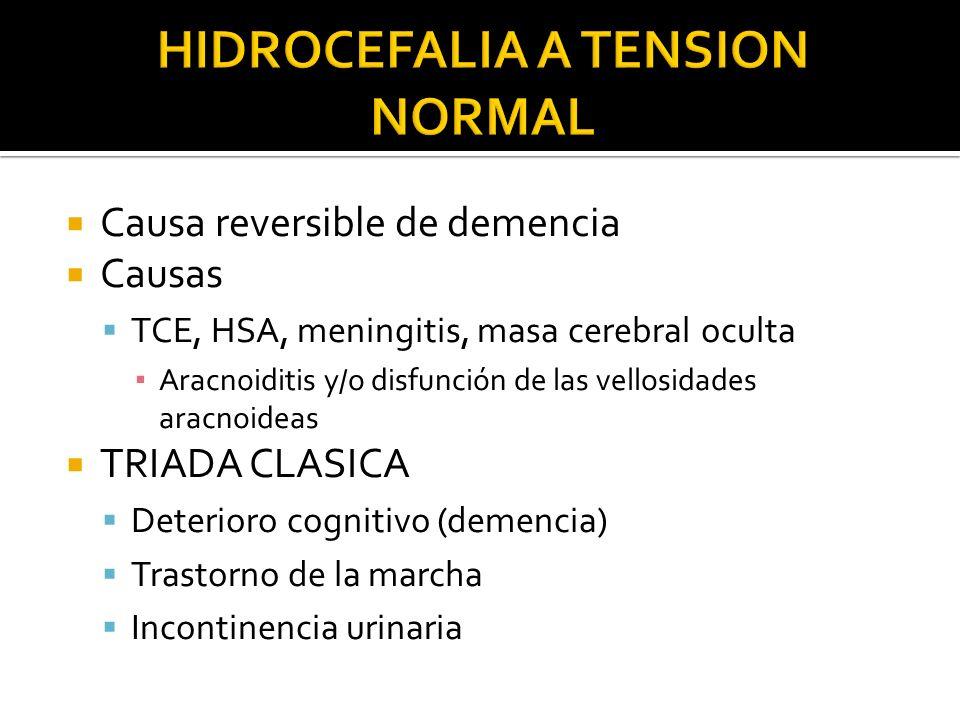 Causa reversible de demencia Causas TCE, HSA, meningitis, masa cerebral oculta Aracnoiditis y/o disfunción de las vellosidades aracnoideas TRIADA CLAS