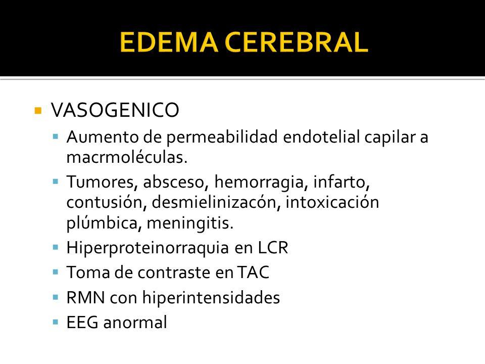VASOGENICO Aumento de permeabilidad endotelial capilar a macrmoléculas. Tumores, absceso, hemorragia, infarto, contusión, desmielinizacón, intoxicació