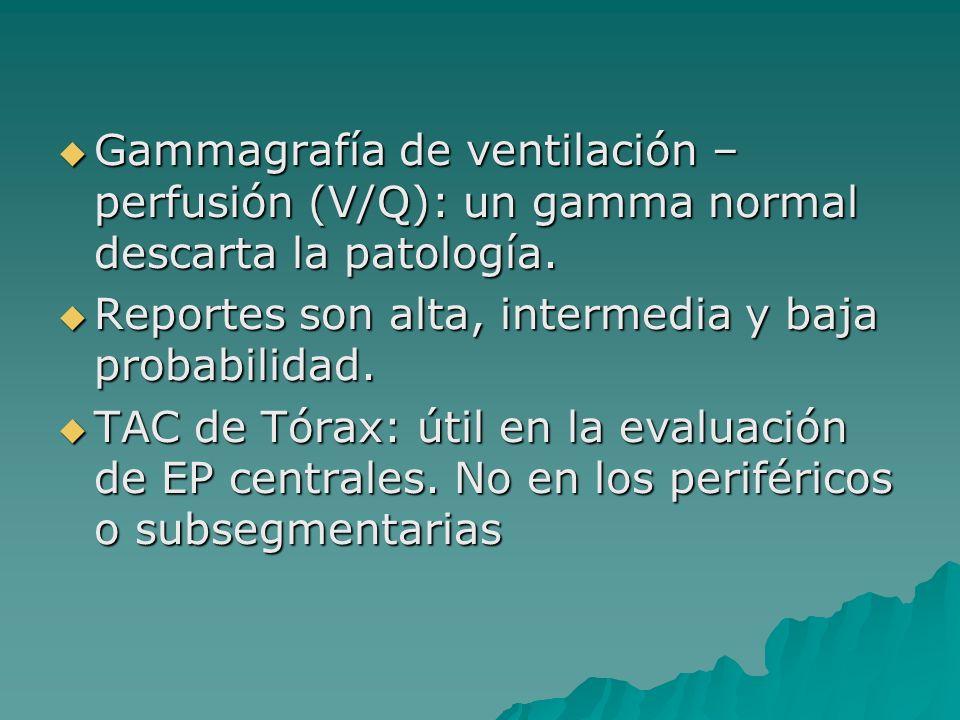Gammagrafía de ventilación – perfusión (V/Q): un gamma normal descarta la patología. Gammagrafía de ventilación – perfusión (V/Q): un gamma normal des
