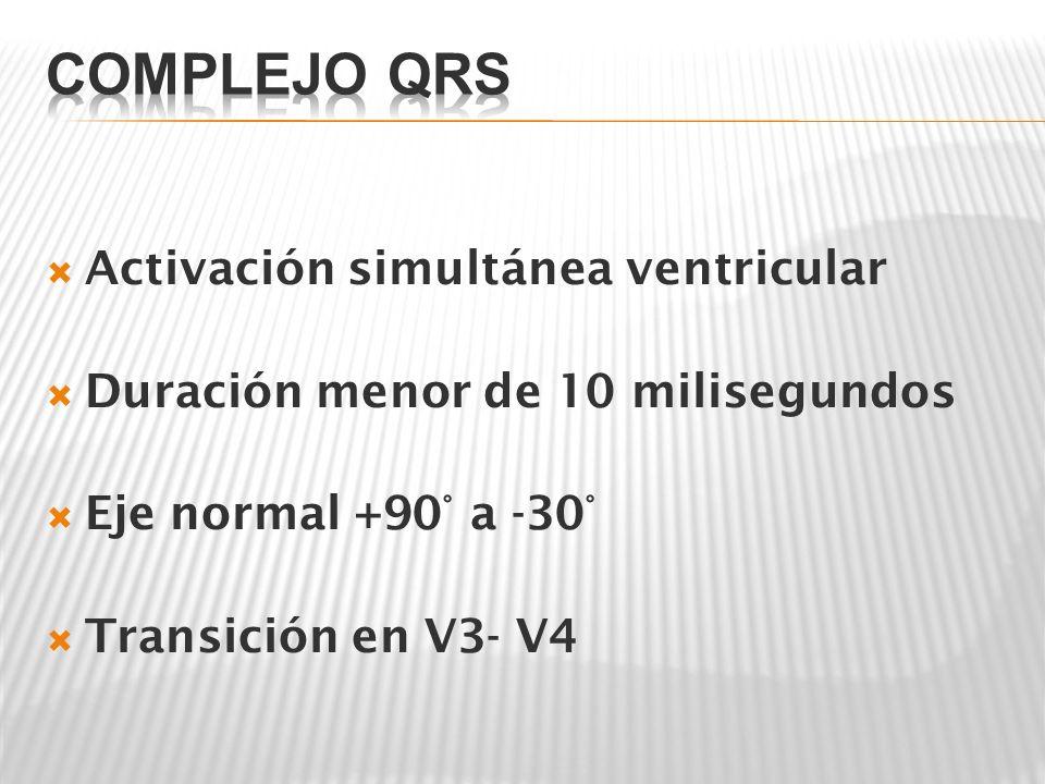 Activación simultánea ventricular Duración menor de 10 milisegundos Eje normal +90° a -30° Transición en V3- V4