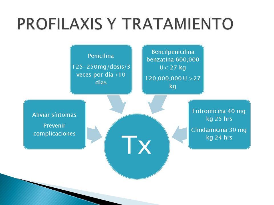 Tx Aliviar síntomas Prevenir complicaciones Penicilina 125-250mg/dosis/3 veces por día /10 días Bencilpenicilina benzatina 600,000 U< 27 kg 120,000,00