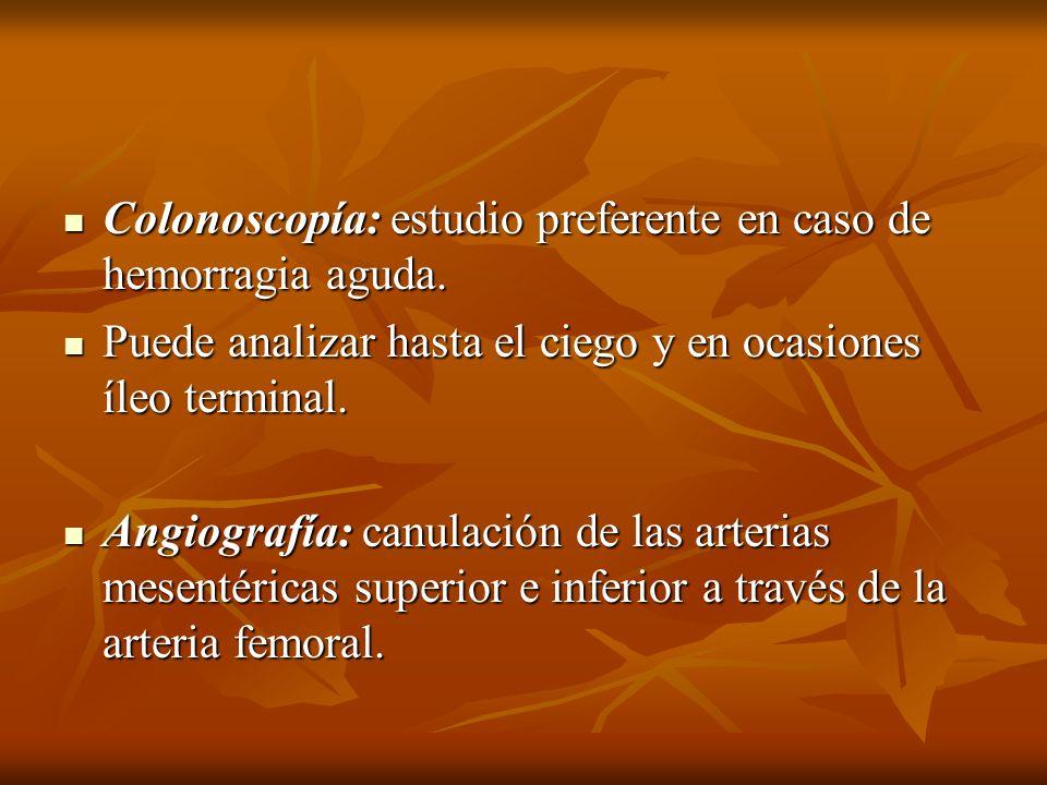 Colonoscopía: estudio preferente en caso de hemorragia aguda. Colonoscopía: estudio preferente en caso de hemorragia aguda. Puede analizar hasta el ci