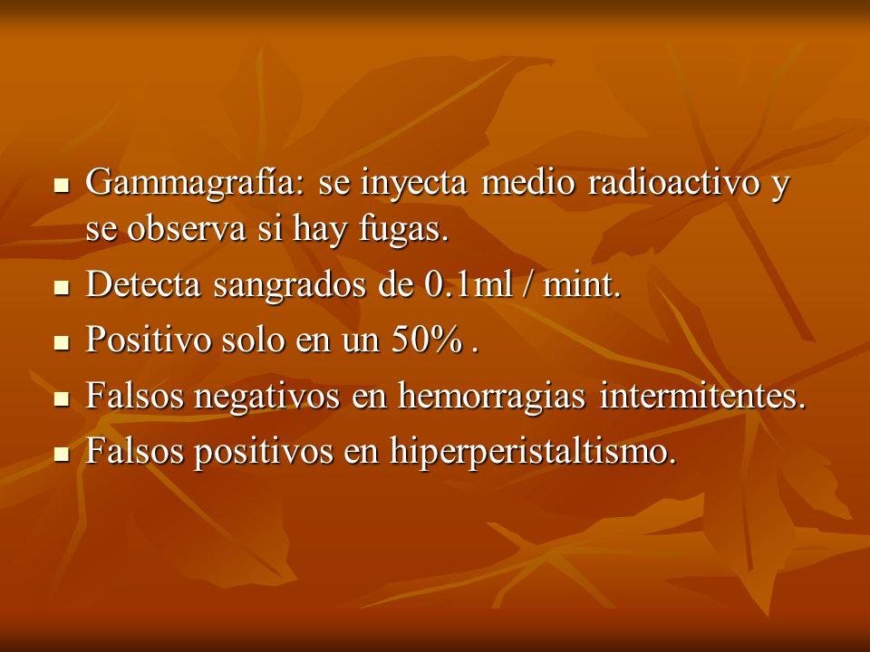 Gammagrafía: se inyecta medio radioactivo y se observa si hay fugas. Gammagrafía: se inyecta medio radioactivo y se observa si hay fugas. Detecta sang