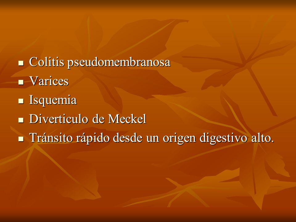 Colitis pseudomembranosa Colitis pseudomembranosa Varices Varices Isquemia Isquemia Diverticulo de Meckel Diverticulo de Meckel Tránsito rápido desde