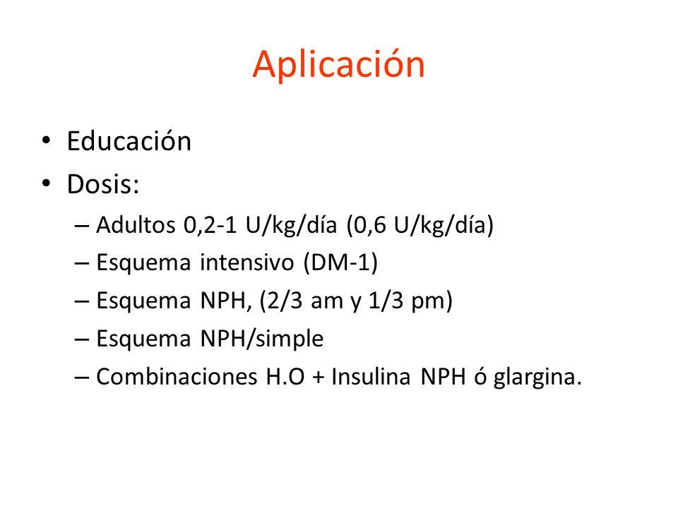 Aplicación Educación Dosis: – Adultos 0,2-1 U/kg/día (0,6 U/kg/día) – Esquema intensivo (DM-1) – Esquema NPH, (2/3 am y 1/3 pm) – Esquema NPH/simple –