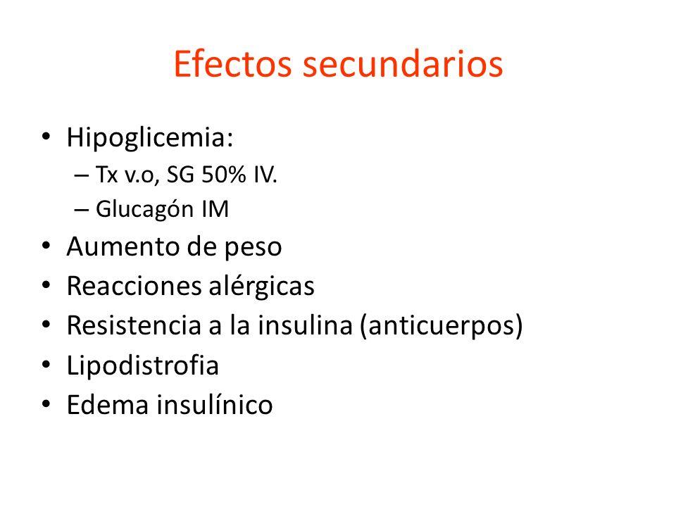 Efectos secundarios Hipoglicemia: – Tx v.o, SG 50% IV. – Glucagón IM Aumento de peso Reacciones alérgicas Resistencia a la insulina (anticuerpos) Lipo