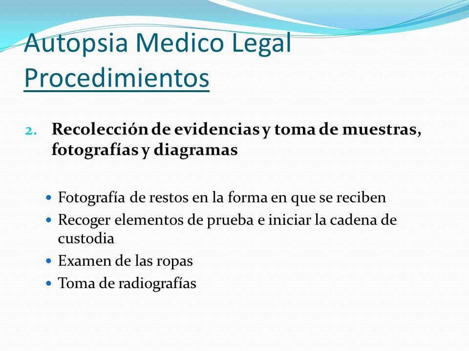 Autopsia Medico Legal Procedimientos 2. Recolección de evidencias y toma de muestras, fotografías y diagramas Fotografía de restos en la forma en que