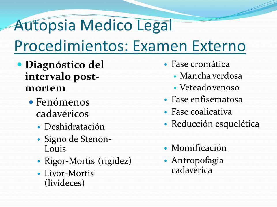 Autopsia Medico Legal Procedimientos: Examen Externo Diagnóstico del intervalo post- mortem Fenómenos cadavéricos Deshidratación Signo de Stenon- Loui