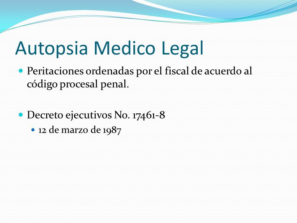 Autopsia Medico Legal Peritaciones ordenadas por el fiscal de acuerdo al código procesal penal. Decreto ejecutivos No. 17461-8 12 de marzo de 1987