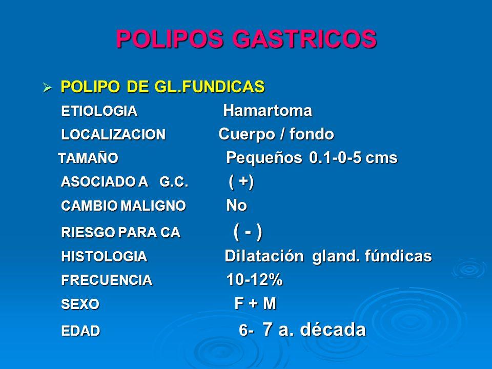 POLIPOS GASTRICOS POLIPO DE GL.FUNDICAS POLIPO DE GL.FUNDICAS ETIOLOGIA Hamartoma ETIOLOGIA Hamartoma LOCALIZACION Cuerpo / fondo LOCALIZACION Cuerpo