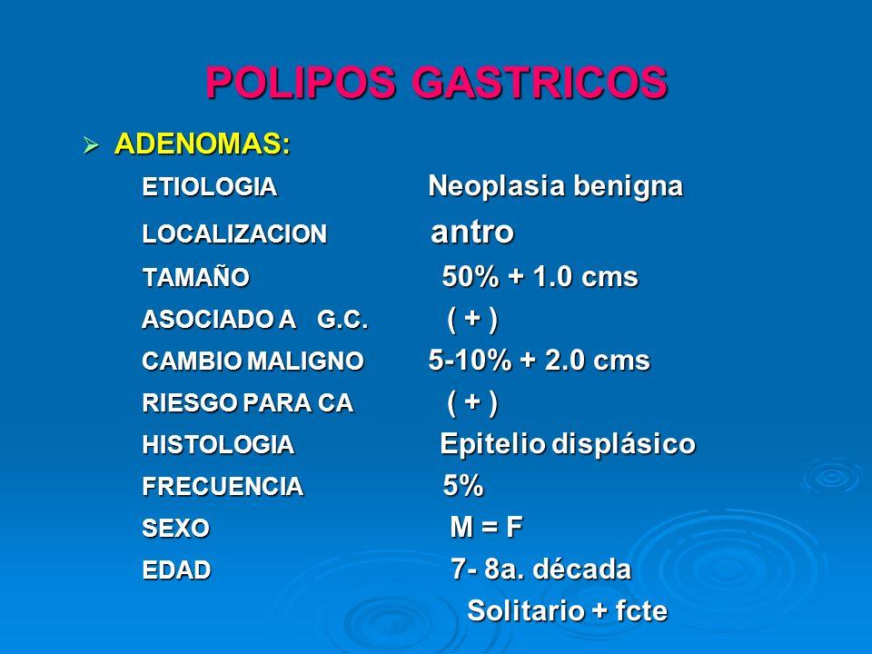 POLIPOS GASTRICOS ADENOMAS: ADENOMAS: ETIOLOGIA Neoplasia benigna ETIOLOGIA Neoplasia benigna LOCALIZACION antro LOCALIZACION antro TAMAÑO 50% + 1.0 c