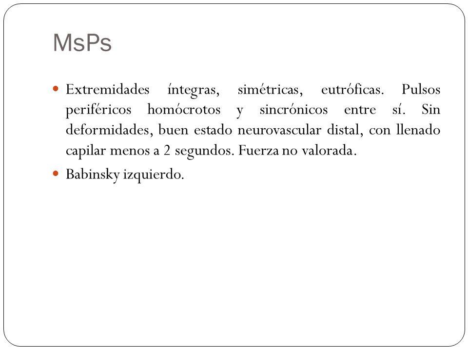 MsPs Extremidades íntegras, simétricas, eutróficas.