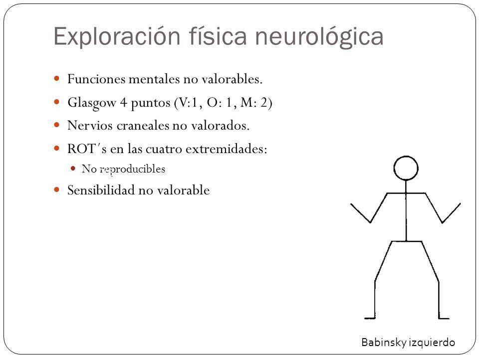 Exploración física neurológica Funciones mentales no valorables.