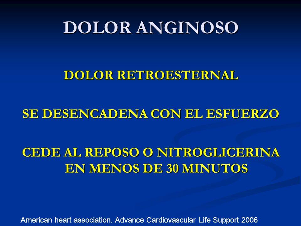 DOLOR ANGINOSO DOLOR RETROESTERNAL SE DESENCADENA CON EL ESFUERZO CEDE AL REPOSO O NITROGLICERINA EN MENOS DE 30 MINUTOS American heart association. A