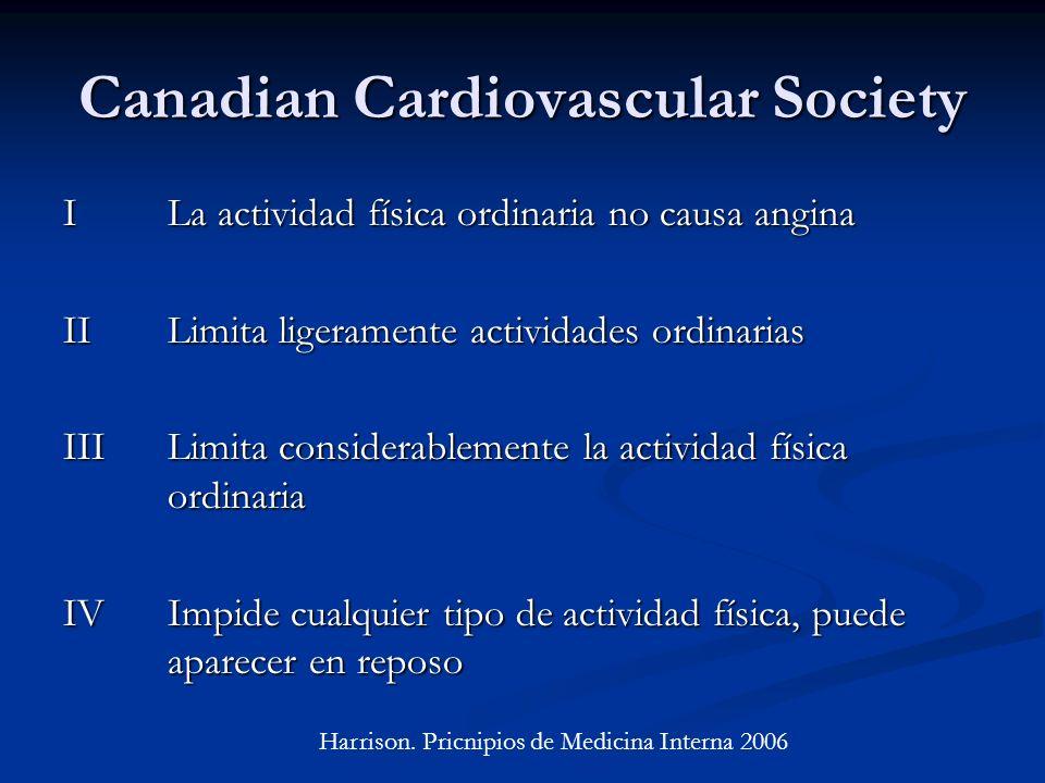 Canadian Cardiovascular Society ILa actividad física ordinaria no causa angina IILimita ligeramente actividades ordinarias IIILimita considerablemente