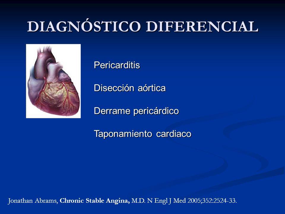 DIAGNÓSTICO DIFERENCIAL Jonathan Abrams, Chronic Stable Angina, M.D. N Engl J Med 2005;352:2524-33. Pericarditis Disección aórtica Derrame pericárdico