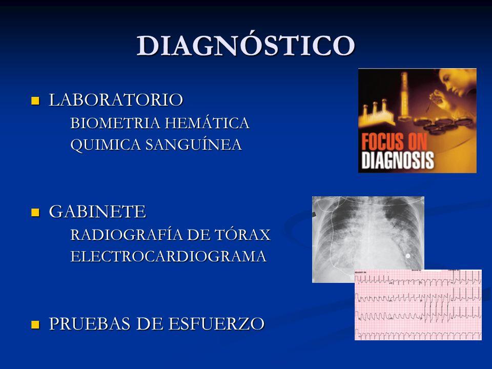 DIAGNÓSTICO LABORATORIO LABORATORIO BIOMETRIA HEMÁTICA QUIMICA SANGUÍNEA GABINETE GABINETE RADIOGRAFÍA DE TÓRAX ELECTROCARDIOGRAMA PRUEBAS DE ESFUERZO