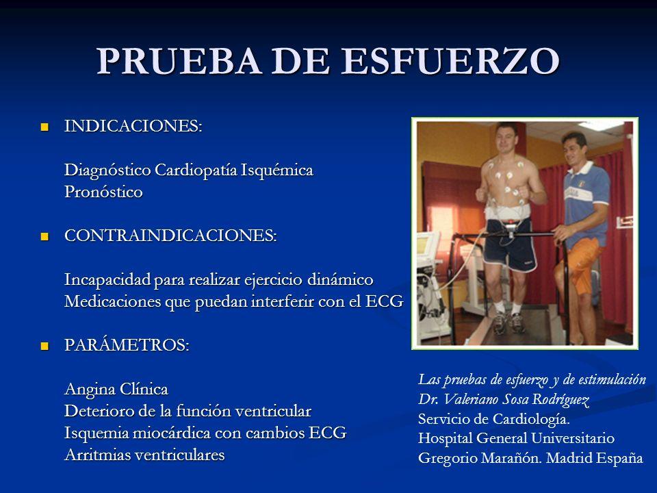 PRUEBA DE ESFUERZO INDICACIONES: INDICACIONES: Diagnóstico Cardiopatía Isquémica Pronóstico CONTRAINDICACIONES: CONTRAINDICACIONES: Incapacidad para r