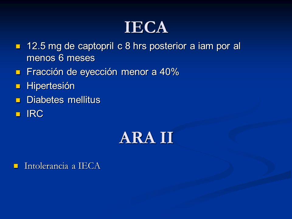 IECA 12.5 mg de captopril c 8 hrs posterior a iam por al menos 6 meses 12.5 mg de captopril c 8 hrs posterior a iam por al menos 6 meses Fracción de e
