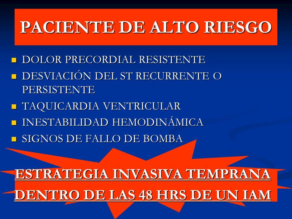 PACIENTE DE ALTO RIESGO DOLOR PRECORDIAL RESISTENTE DOLOR PRECORDIAL RESISTENTE DESVIACIÓN DEL ST RECURRENTE O PERSISTENTE DESVIACIÓN DEL ST RECURRENT