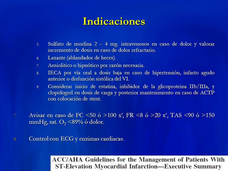 Indicaciones 5. Sulfato de morfina 2 – 4 mg. intravenosos en caso de dolor y valorar incremento de dosis en caso de dolor refractario. 6. Laxante (abl