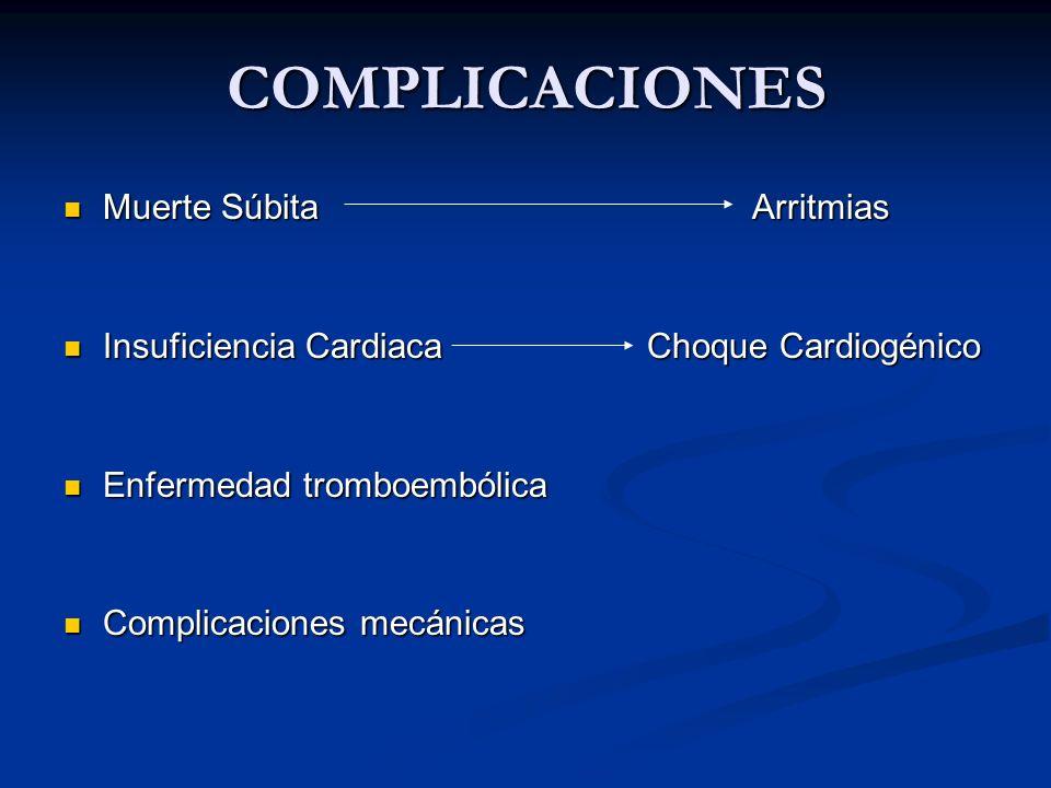COMPLICACIONES Muerte Súbita Arritmias Muerte Súbita Arritmias Insuficiencia Cardiaca Choque Cardiogénico Insuficiencia Cardiaca Choque Cardiogénico E