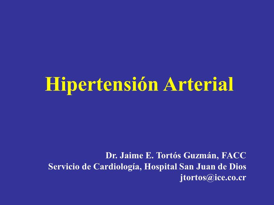Guías europeas 2007 Daño subclínico a órgano blanco 1.HVI-ECG (Sokolow-Lyon > 38 mm; Cornell > 2440 mm x ms), o: 2.HVI en ecocardiograma (LVM H 125 g/m 2, M 110 g/m 2 ) 3.Engrosamiento de la pared carotídea (IMT > 0.9 mm) o placas 4.Velocidad de la onda de pulso carotídeo-femoral > 12 m/s 5.Indice brazo pierna (ABI) < 0.9 6.Ligero aumento en creatinina plasmática: H 1.3-1.5 mg/dl, M 1.2-1.4 mg/dl 7.Tasa estimada de filtración glomerular baja (<60ml/min/1.73 m 2 ) o aclaramiento de creatinina (< 60 ml/min) 8.Microalbuminuria 30-300 mg/24 h o relación albúmina- creatinina 22 (H); o 31 (M) mg/g creatinina