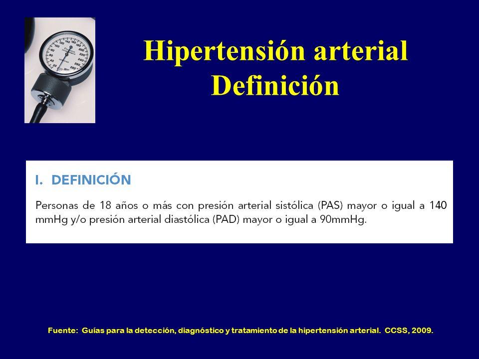 Hipertensión arterial Definición Fuente: Guías para la detección, diagnóstico y tratamiento de la hipertensión arterial. CCSS, 2009.