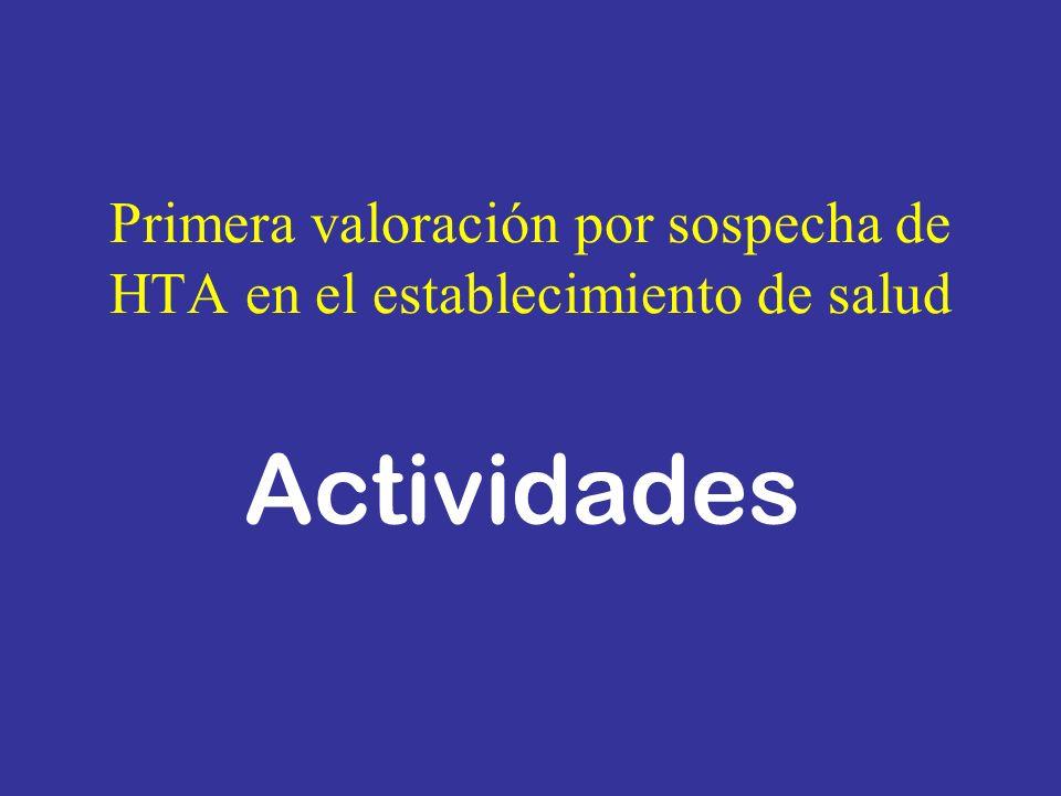 Primera valoración por sospecha de HTA en el establecimiento de salud Actividades