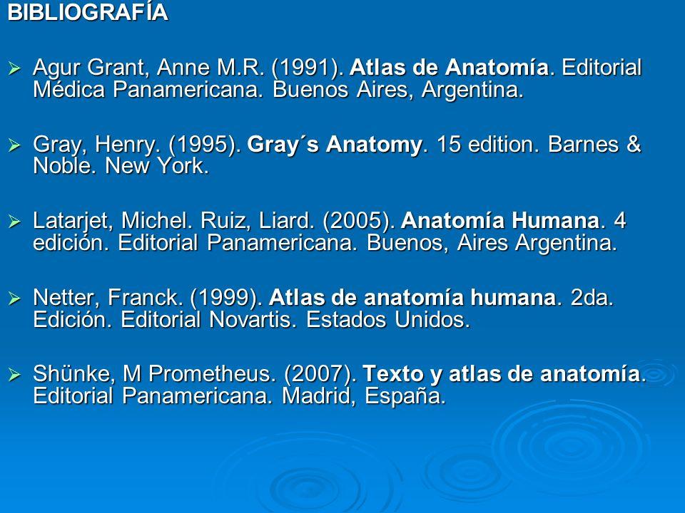 BIBLIOGRAFÍA Agur Grant, Anne M.R. (1991). Atlas de Anatomía. Editorial Médica Panamericana. Buenos Aires, Argentina. Agur Grant, Anne M.R. (1991). At