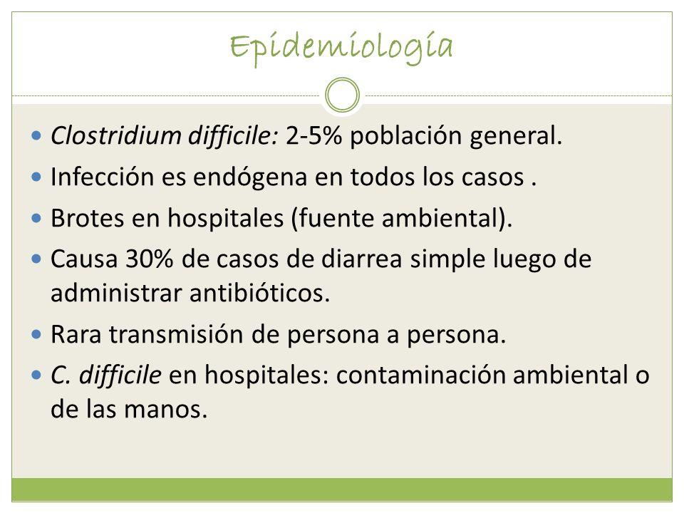 Epidemiología Clostridium difficile: 2-5% población general. Infección es endógena en todos los casos. Brotes en hospitales (fuente ambiental). Causa