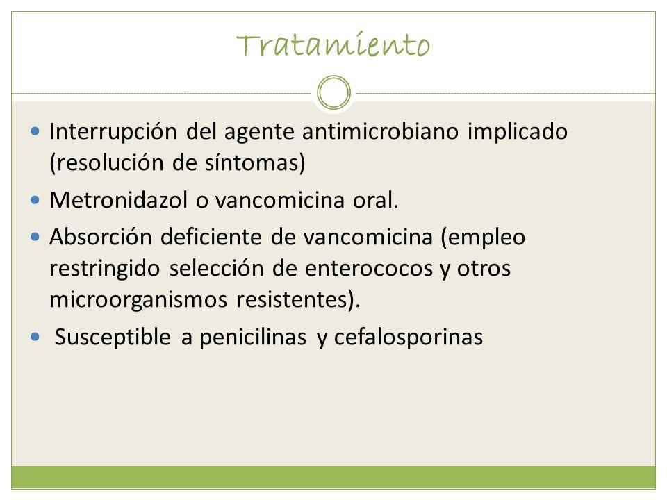 Tratamiento Interrupción del agente antimicrobiano implicado (resolución de síntomas) Metronidazol o vancomicina oral. Absorción deficiente de vancomi