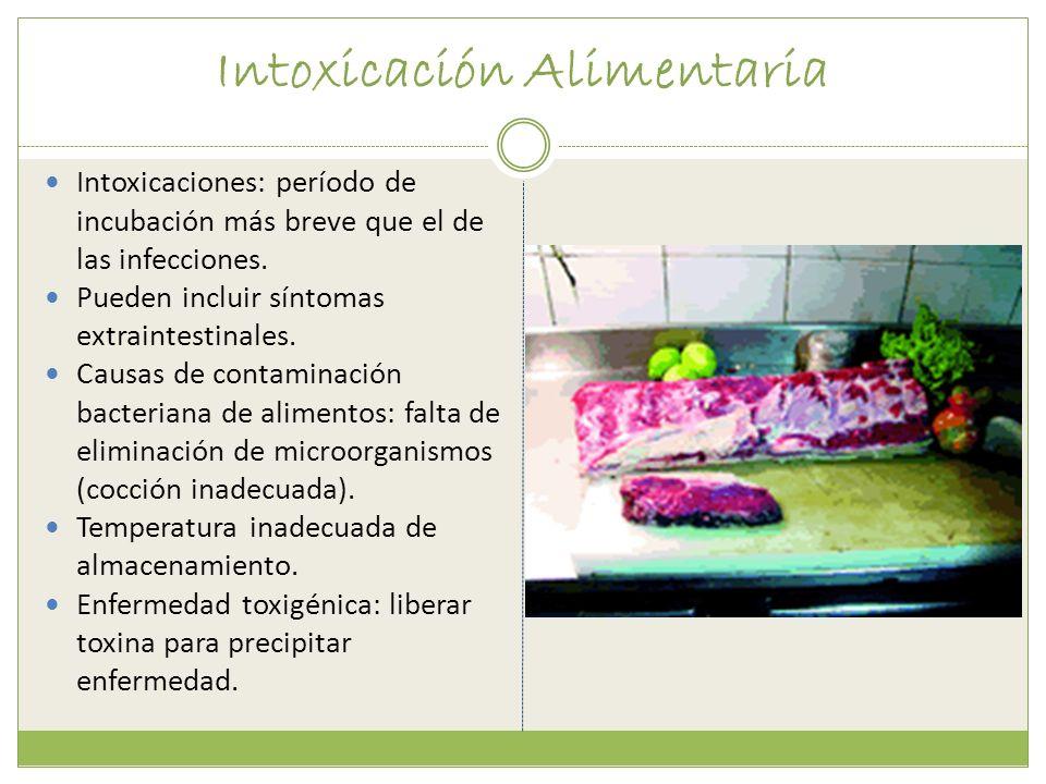 Intoxicación Alimentaria Intoxicaciones: período de incubación más breve que el de las infecciones. Pueden incluir síntomas extraintestinales. Causas