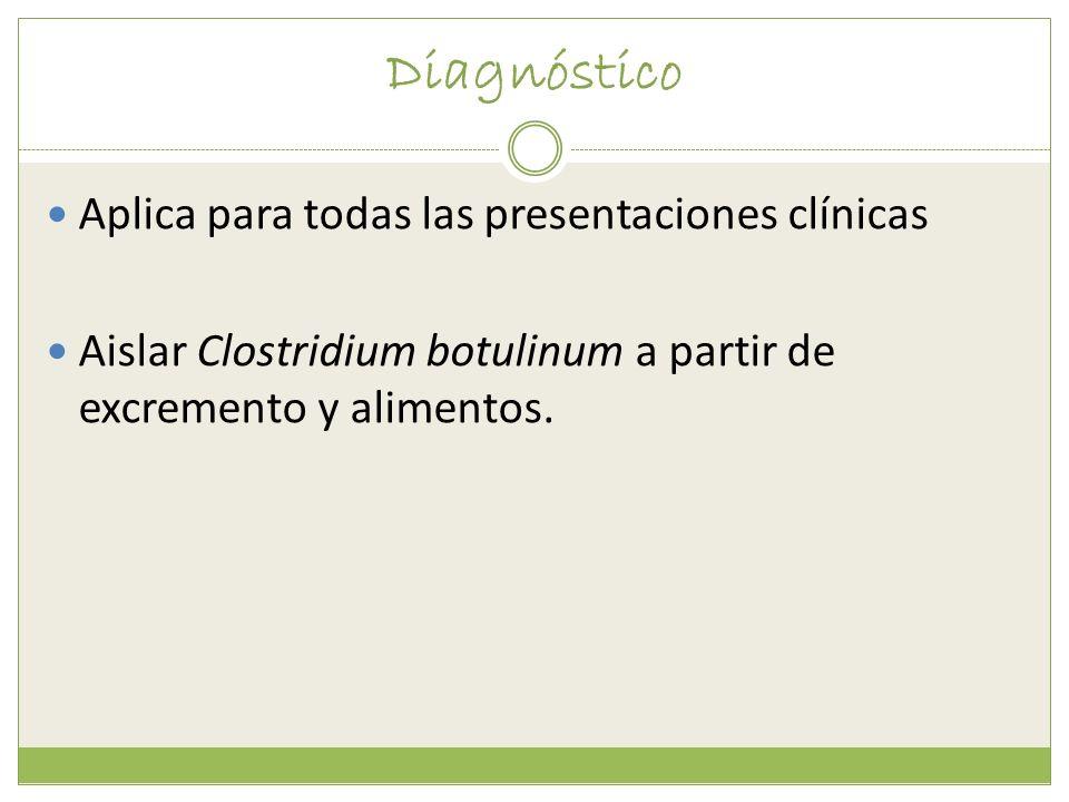 Diagnóstico Aplica para todas las presentaciones clínicas Aislar Clostridium botulinum a partir de excremento y alimentos.