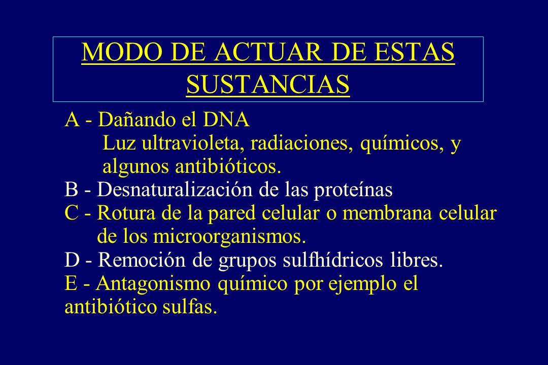 MODO DE ACTUAR DE ESTAS SUSTANCIAS §A - Dañando el DNA Luz ultravioleta, radiaciones, químicos, y algunos antibióticos. B - Desnaturalización de las p