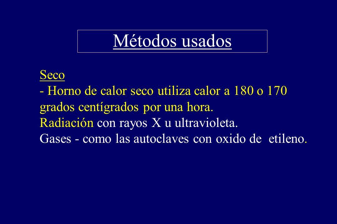 Métodos usados §Seco - Horno de calor seco utiliza calor a 180 o 170 grados centígrados por una hora. Radiación con rayos X u ultravioleta. Gases - co