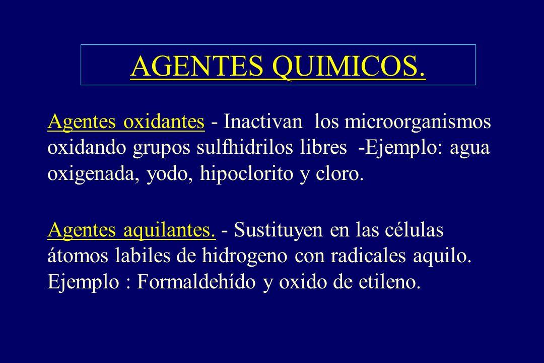 AGENTES QUIMICOS. §Agentes oxidantes - Inactivan los microorganismos oxidando grupos sulfhidrilos libres -Ejemplo: agua oxigenada, yodo, hipoclorito y
