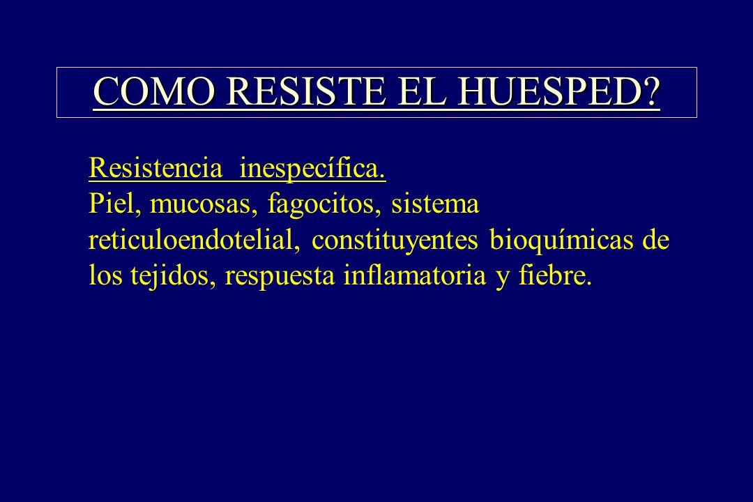 COMO RESISTE EL HUESPED? §Resistencia inespecífica. Piel, mucosas, fagocitos, sistema reticuloendotelial, constituyentes bioquímicas de los tejidos, r