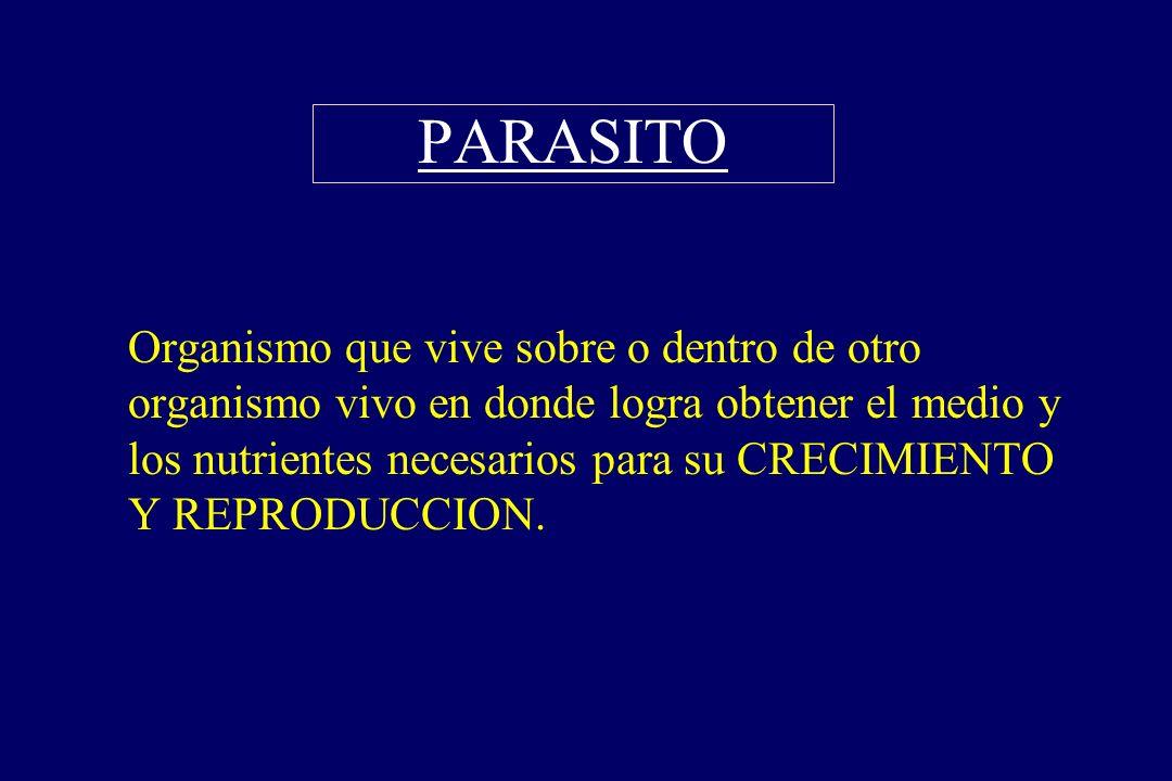 PARASITO §Organismo que vive sobre o dentro de otro organismo vivo en donde logra obtener el medio y los nutrientes necesarios para su CRECIMIENTO Y R